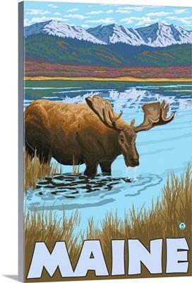 Maine - Moose Drinking in Lake: Retro Travel Poster