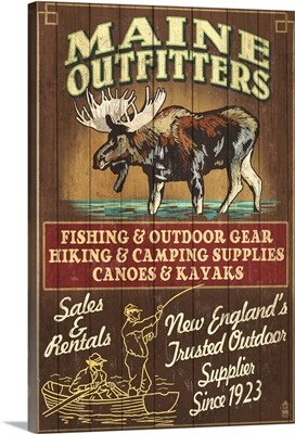 Maine - Moose Outfitters Vintage Sign: Retro Travel Poster
