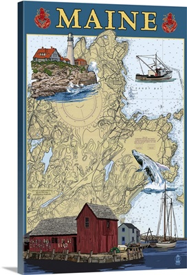 Maine Scenes - Nautical Chart: Retro Travel Poster
