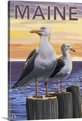 Maine - Sea Gulls Scene: Retro Travel Poster