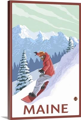 Maine - Snowboarder Scene: Retro Travel Poster