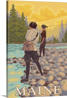 Maine - Women Fly Fishing Scene: Retro Travel Poster