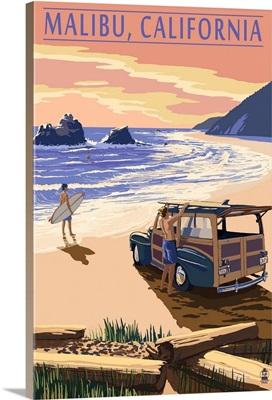 Malibu, California - Woodies on the Beach: Retro Travel Poster