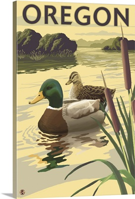 Mallard Ducks - Oregon: Retro Travel Poster