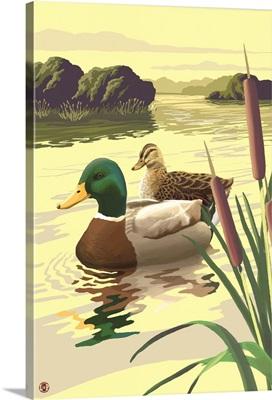 Mallard Ducks: Retro Poster Art