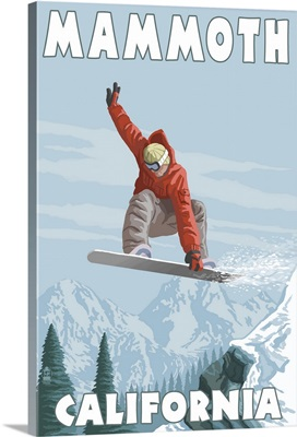 Mammoth, California - Snowboarder Jumping: Retro Travel Poster