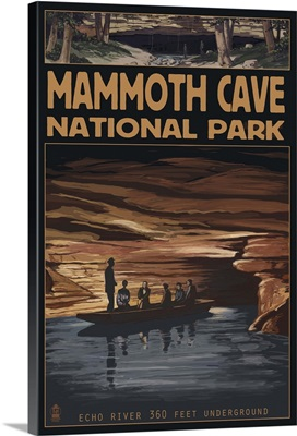 Mammoth Cave National Park - Echo River: Retro Travel Poster