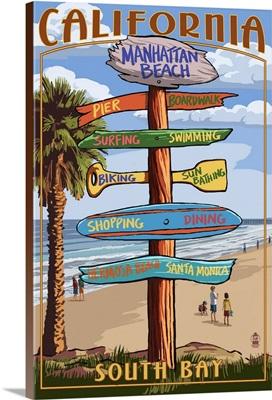 Manhattan Beach, California - Destination Sign: Retro Travel Poster