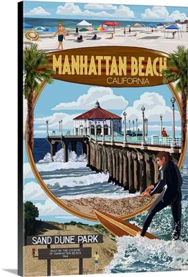 Manhattan Beach, California - Montage Scenes: Retro Travel Poster