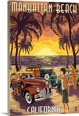 Manhattan Beach, California - Woodies and Sunset: Retro Travel Poster