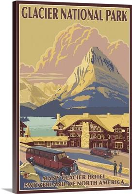 Many Glacier Hotel - Glacier, MT: Retro Travel Poster