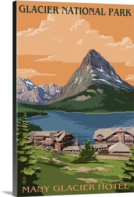 Many Glacier Hotel - Glacier National Park, Montana: Retro Travel Poster