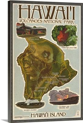 Map of Hawaii - Hawaii Volcanoes National Park: Retro Travel Poster