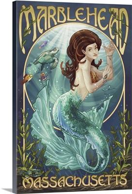 Marblehead, Massachusetts -  Mermaid : Retro Travel Poster