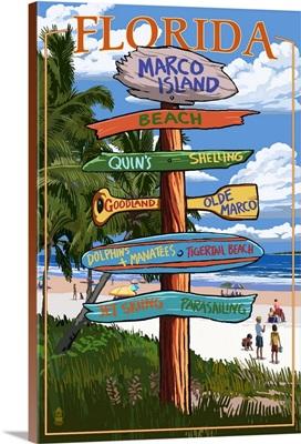 Marco Island, Florida - Destination Sign 2: Retro Travel Poster