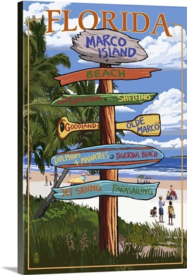 Marco Island, Florida - Destinations Signpost: Retro Travel Poster