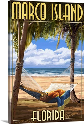 Marco Island, Florida - Hammock Scene: Retro Travel Poster