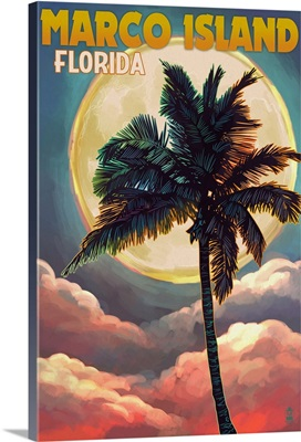 Marco Island, Florida, Palms and Moon