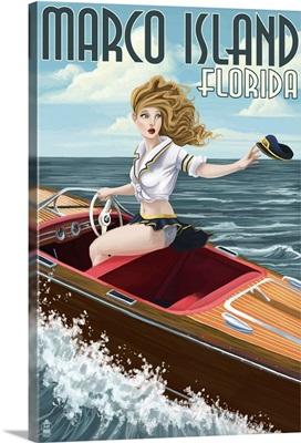 Marco Island, Florida - Pinup Girl Boating: Retro Travel Poster