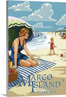 Marco Island, Florida - Woman on Beach: Retro Travel Poster