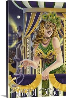 Mardi Gras Girl: Retro Travel Poster