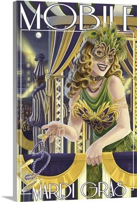 Mardi Gras - Mobile, Alabama: Retro Travel Poster