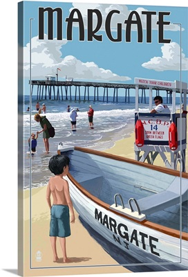 Margate, New Jersey - Lifeguard Stand: Retro Travel Poster