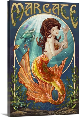 Margate, New Jersey - Mermaid: Retro Travel Poster