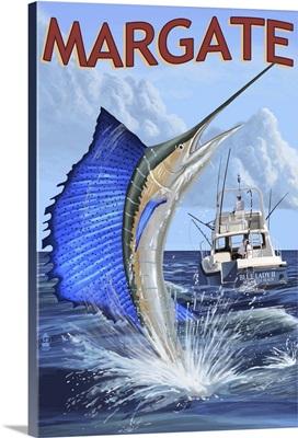Margate, New Jersey - Sailfish Deep Sea Fishing: Retro Travel Poster