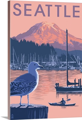 Marina and Rainier at Sunset - Seattle, Washington: Retro Travel Poster