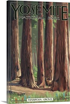 Mariposa Grove - Yosemite National Park, California: Retro Travel Poster