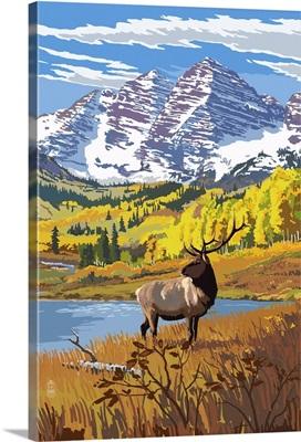 Maroon Bells and Elk: Retro Poster Art