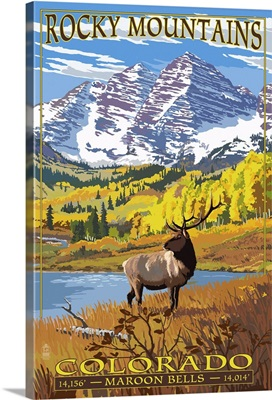 Maroon Bells - Rocky Mountain National Park: Retro Travel Poster