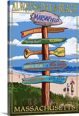 Marshfield, Massachusetts - Sign Destinations: Retro Travel Poster