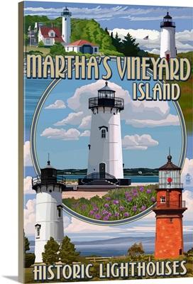 Martha's Vineyard - Lighthouses Montage: Retro Travel Poster