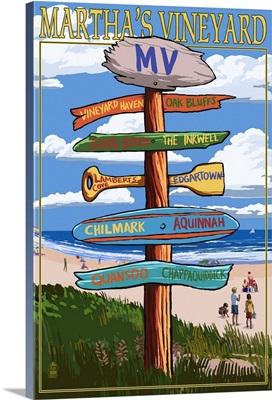 Martha's Vineyard, Massachusetts - Destination Sign: Retro Travel Poster