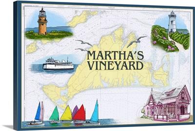 Martha's Vineyard - Nautical Chart: Retro Travel Poster
