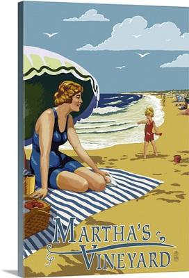 Martha's Vineyard - Woman on Beach: Retro Travel Poster