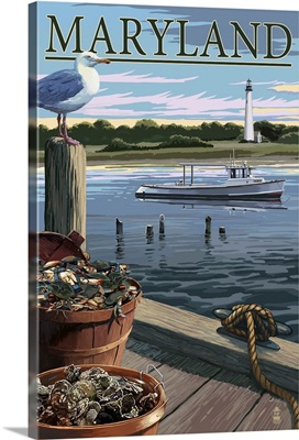 Maryland - Blue Crab and Oysters on Dock: Retro Travel Poster