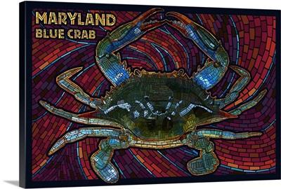 Maryland - Blue Crab Paper Mosaic: Retro Travel Poster