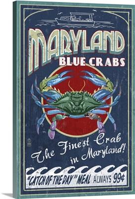 Maryland Blue Crabs Vintage Sign: Retro Travel Poster