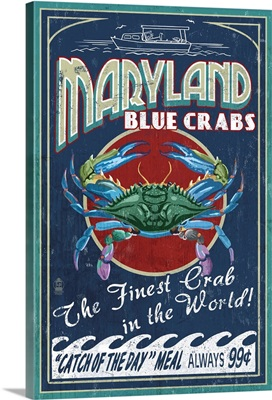 Maryland - Blue Crabs Vintage Sign: Retro Travel Poster