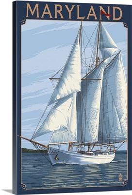 Maryland - Sailboat Scene: Retro Travel Poster