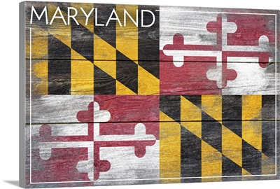 Maryland State Flag on Wood