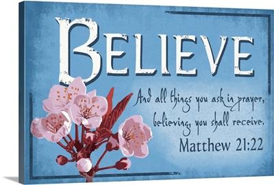Matthew 21:22  - Inspirational - Lantern Press Artwork: Retro Travel Poster