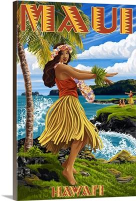 Maui, Hawaii, Hula Girl on Coast