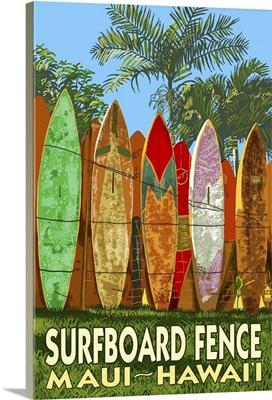 Maui, Hawaii - Surfboard Fence: Retro Travel Poster