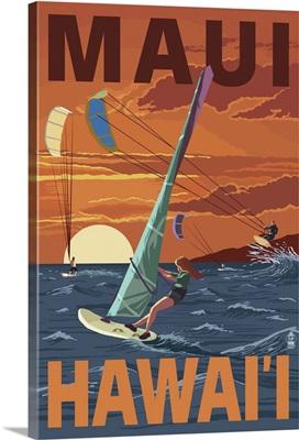 Maui, Hawaii - Windsurfers Scene at Sunset: Retro Travel Poster