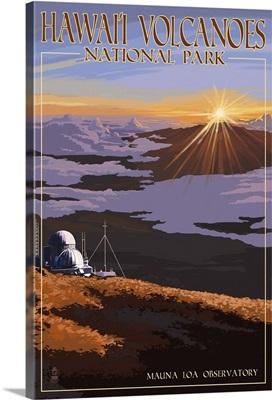 Mauna Loa Observatory at Sunrise, Hawaii Volcanoes National Park: Retro Travel Poster