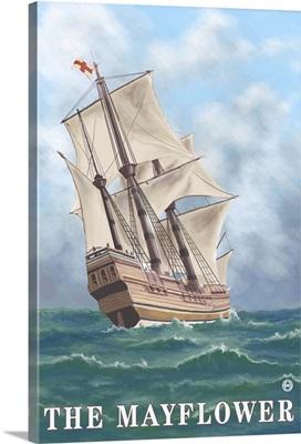 Mayflower - Massachusetts: Retro Travel Poster